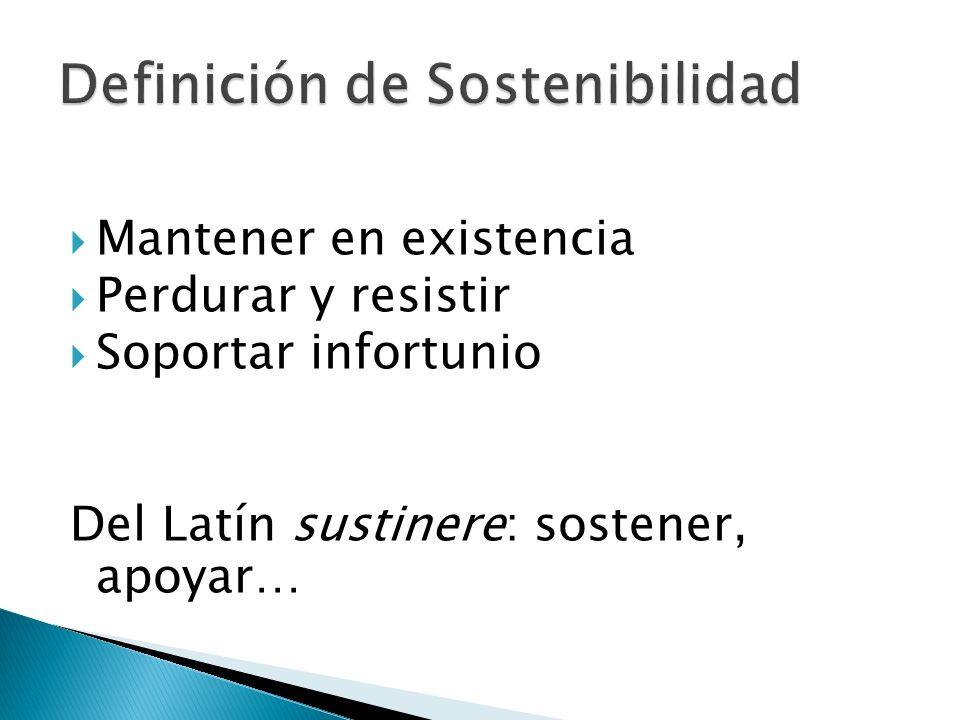 Mantener en existencia Perdurar y resistir Soportar infortunio Del Latín sustinere: sostener, apoyar…