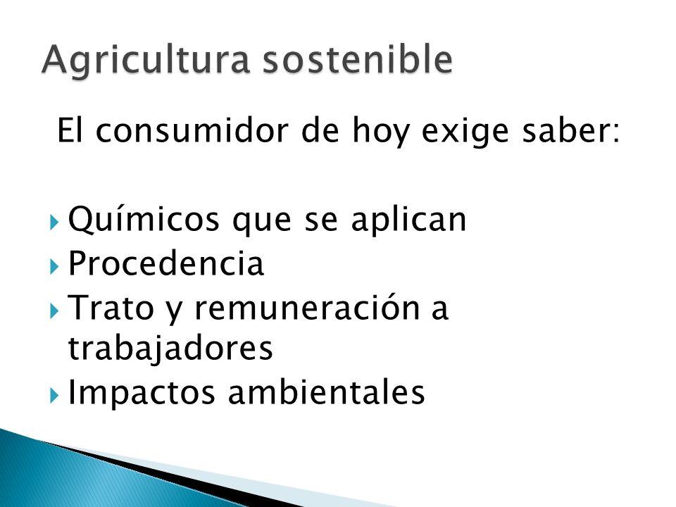 El consumidor de hoy exige saber: Químicos que se aplican Procedencia Trato y remuneración a trabajadores Impactos ambientales