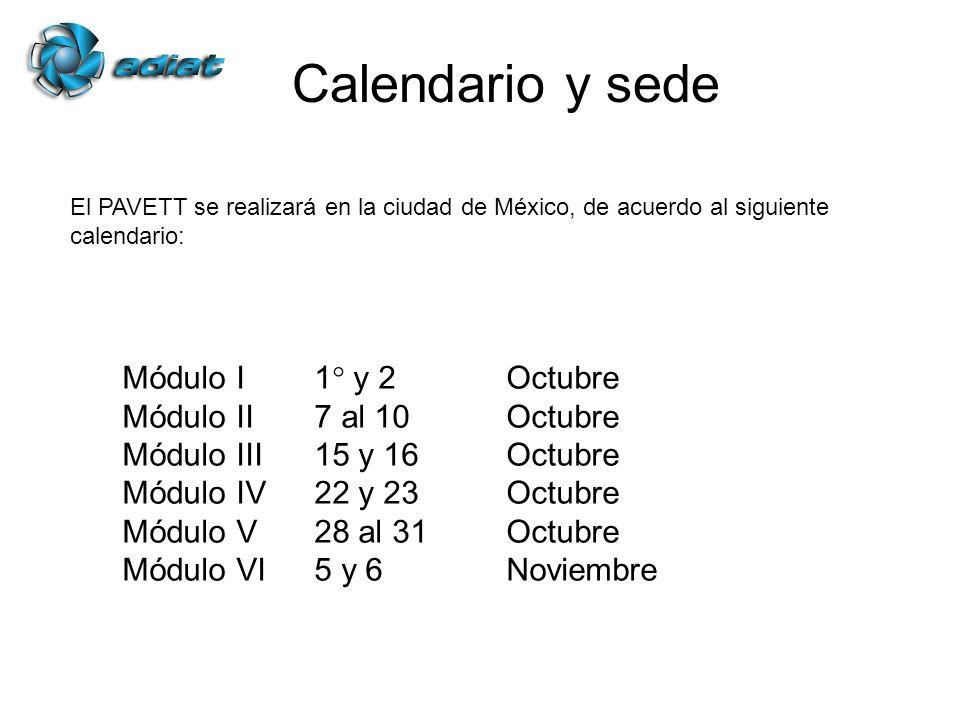 Calendario y sede Módulo I1° y 2Octubre Módulo II7 al 10 Octubre Módulo III15 y 16Octubre Módulo IV22 y 23Octubre Módulo V28 al 31Octubre Módulo VI5 y 6Noviembre El PAVETT se realizará en la ciudad de México, de acuerdo al siguiente calendario: