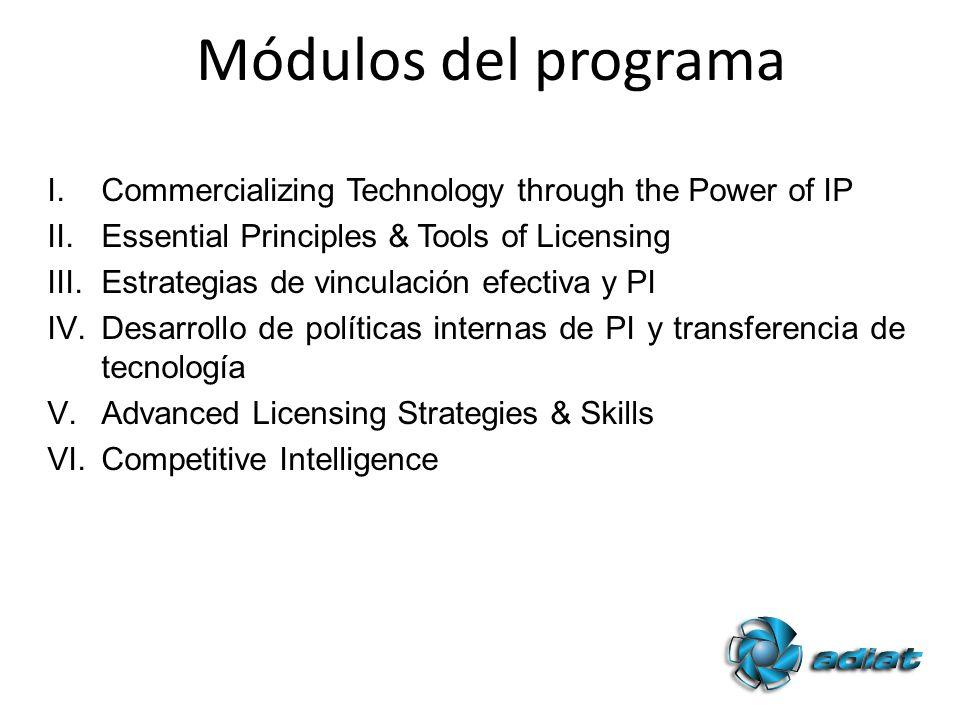 I.Commercializing Technology through the Power of IP II.Essential Principles & Tools of Licensing III.Estrategias de vinculación efectiva y PI IV.Desarrollo de políticas internas de PI y transferencia de tecnología V.Advanced Licensing Strategies & Skills VI.Competitive Intelligence Módulos del programa