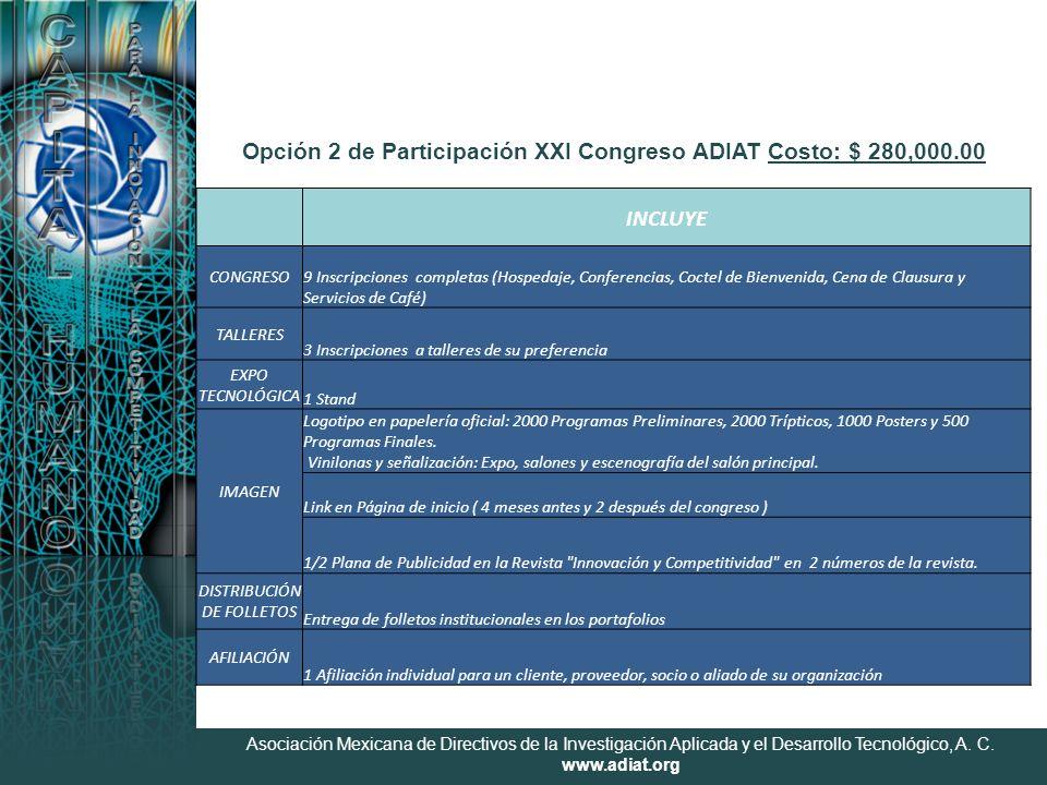 Asociación Mexicana de Directivos de la Investigación Aplicada y el Desarrollo Tecnológico, A. C. www.adiat.org Opción 2 de Participación XXI Congreso