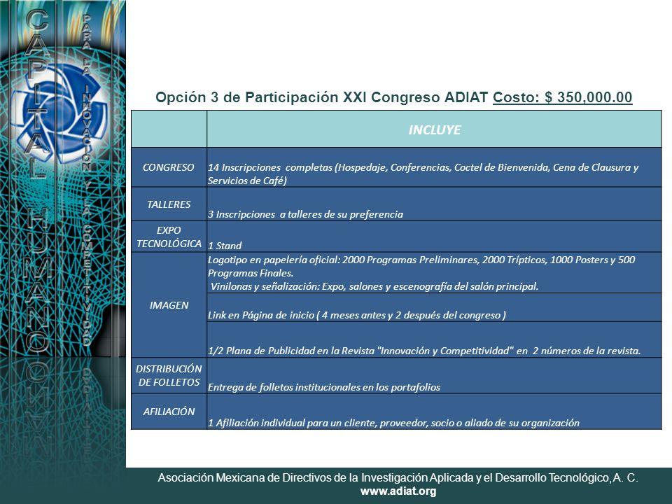 Asociación Mexicana de Directivos de la Investigación Aplicada y el Desarrollo Tecnológico, A. C. www.adiat.org Opción 3 de Participación XXI Congreso