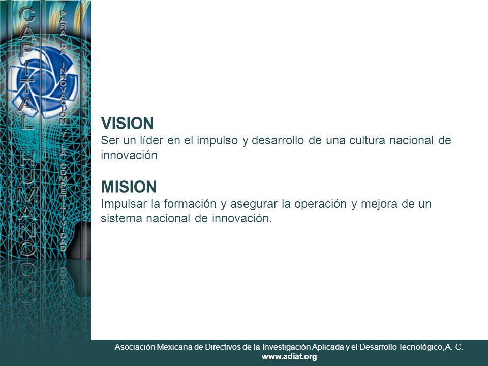 Asociación Mexicana de Directivos de la Investigación Aplicada y el Desarrollo Tecnológico, A. C. www.adiat.org VISION Ser un líder en el impulso y de