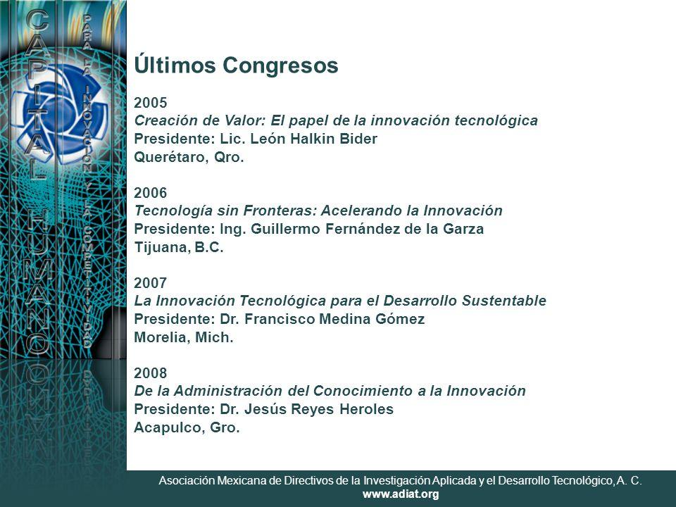 Asociación Mexicana de Directivos de la Investigación Aplicada y el Desarrollo Tecnológico, A. C. www.adiat.org 2005 Creación de Valor: El papel de la
