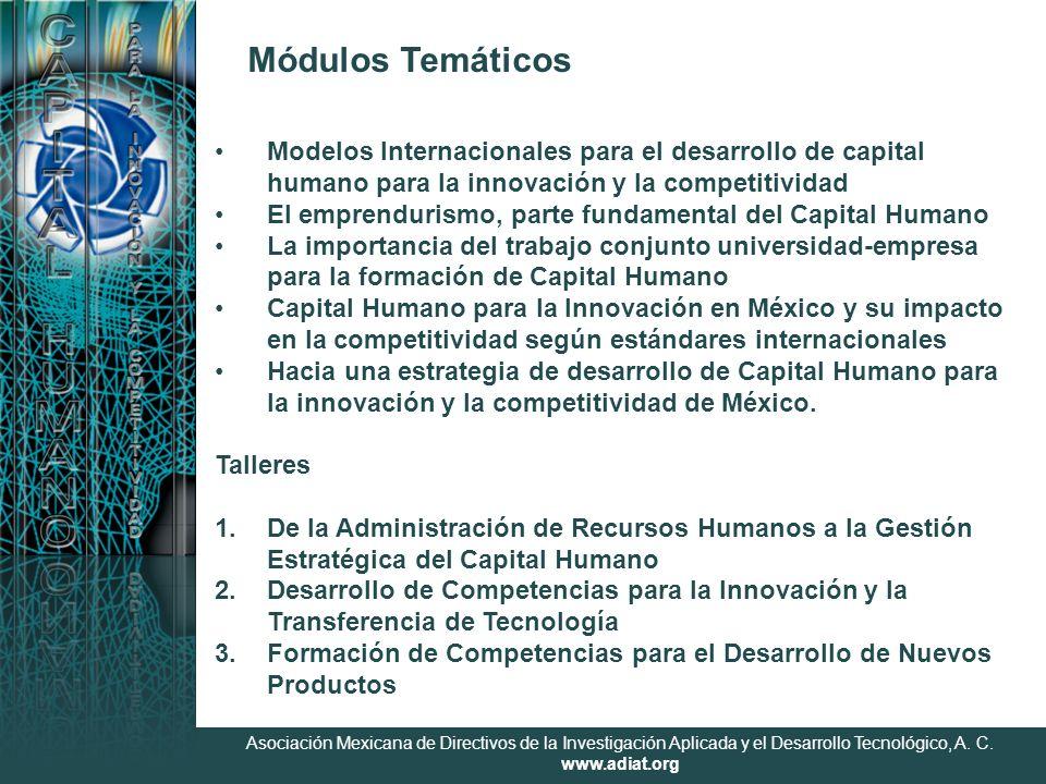 Asociación Mexicana de Directivos de la Investigación Aplicada y el Desarrollo Tecnológico, A. C. www.adiat.org Módulos Temáticos Modelos Internaciona