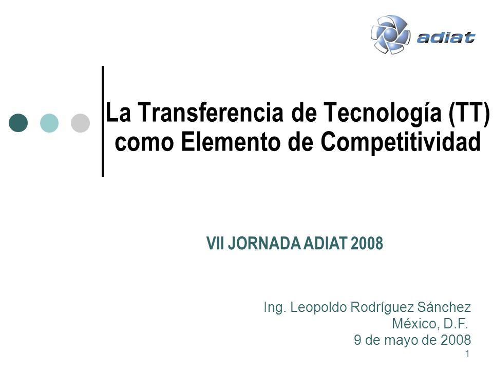 1 La Transferencia de Tecnología (TT) como Elemento de Competitividad VII JORNADA ADIAT 2008 Ing. Leopoldo Rodríguez Sánchez México, D.F. 9 de mayo de
