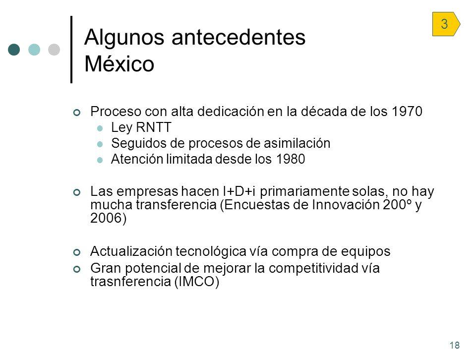 18 Algunos antecedentes México 3 Proceso con alta dedicación en la década de los 1970 Ley RNTT Seguidos de procesos de asimilación Atención limitada d