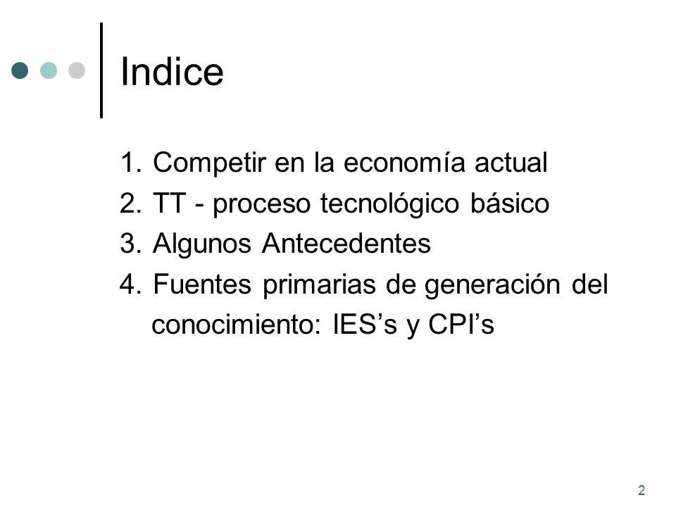 2 Indice 1. Competir en la economía actual 2. TT - proceso tecnológico básico 3. Algunos Antecedentes 4. Fuentes primarias de generación del conocimie