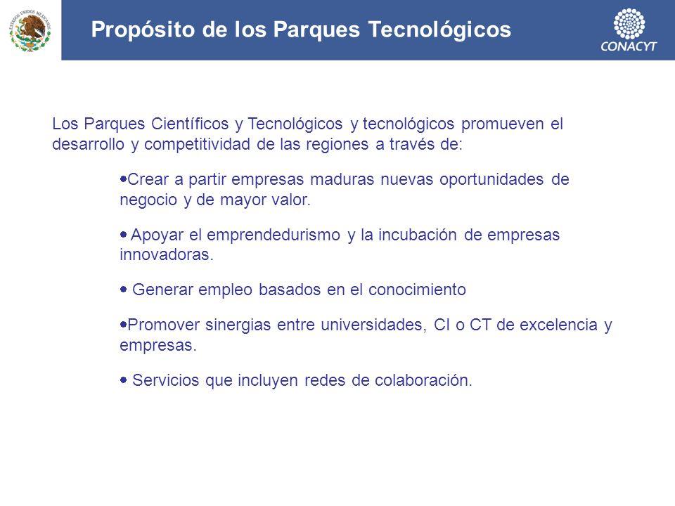 Los Parques Científicos y Tecnológicos y tecnológicos promueven el desarrollo y competitividad de las regiones a través de: Crear a partir empresas ma