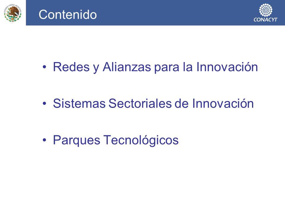 Articulación de Instrumentos de Fortalecimiento a la Innovación Creación de tejido productivo innovador AVANCE Creación de Empresas con Capacidades Tecnológicas e Innovadoras Redes y Alianzas de Innovación Sistemas Sectoriales de Innovación Entorno favorable a la inversión en I+D+i Interacción, colaboración y asociación Público y Privadas.