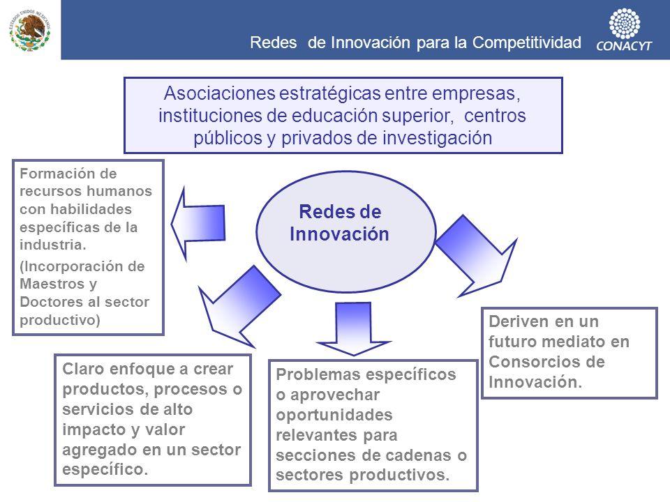 Redes de Innovación para la Competitividad Deriven en un futuro mediato en Consorcios de Innovación. Claro enfoque a crear productos, procesos o servi
