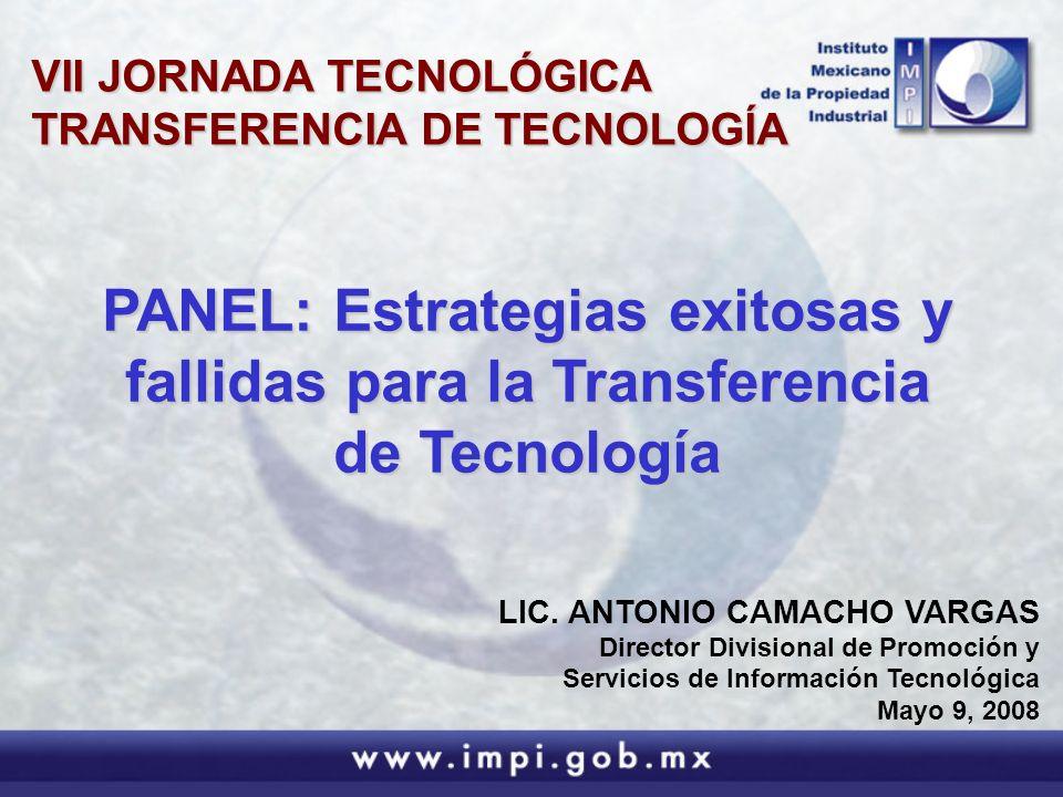 LIC. ANTONIO CAMACHO VARGAS Director Divisional de Promoción y Servicios de Información Tecnológica Mayo 9, 2008 PANEL: Estrategias exitosas y fallida
