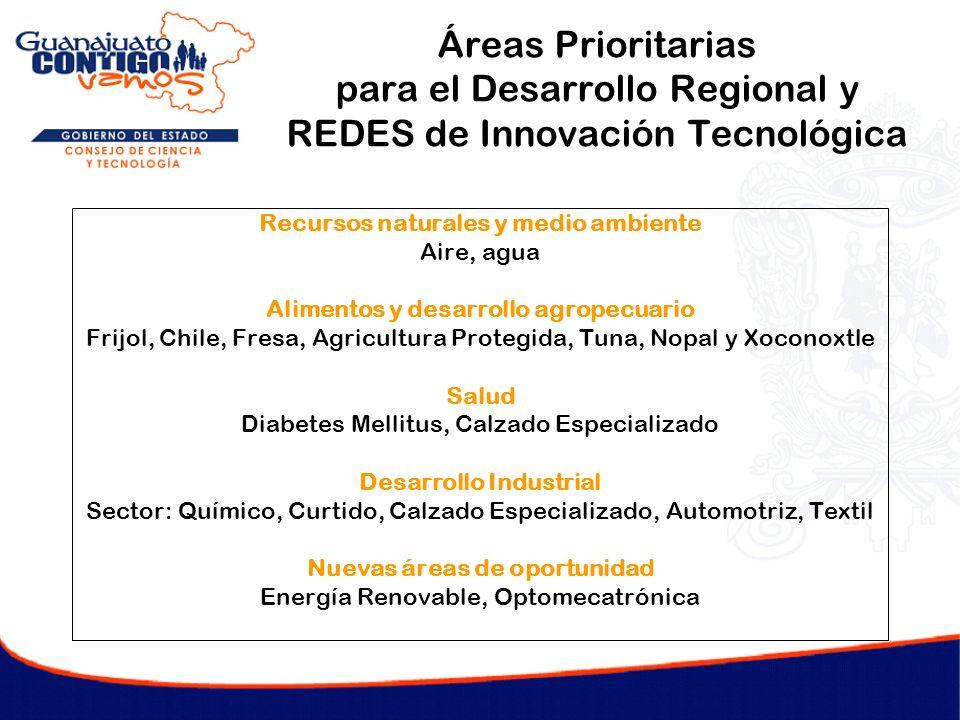 Áreas Prioritarias para el Desarrollo Regional y REDES de Innovación Tecnológica Recursos naturales y medio ambiente Aire, agua Alimentos y desarrollo