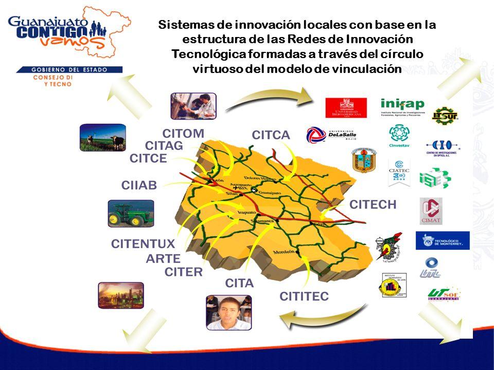 Sistemas de innovación locales con base en la estructura de las Redes de Innovación Tecnológica formadas a través del círculo virtuoso del modelo de v