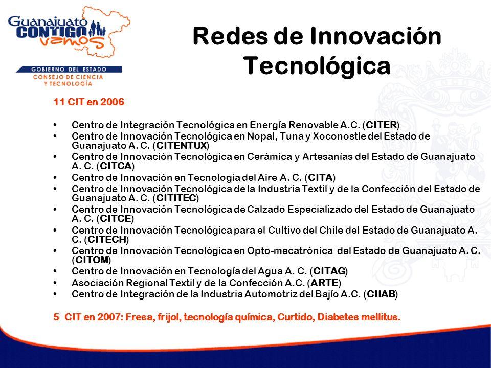 Redes de Innovación Tecnológica 11 CIT en 2006 Centro de Integración Tecnológica en Energía Renovable A.C. (CITER) Centro de Innovación Tecnológica en