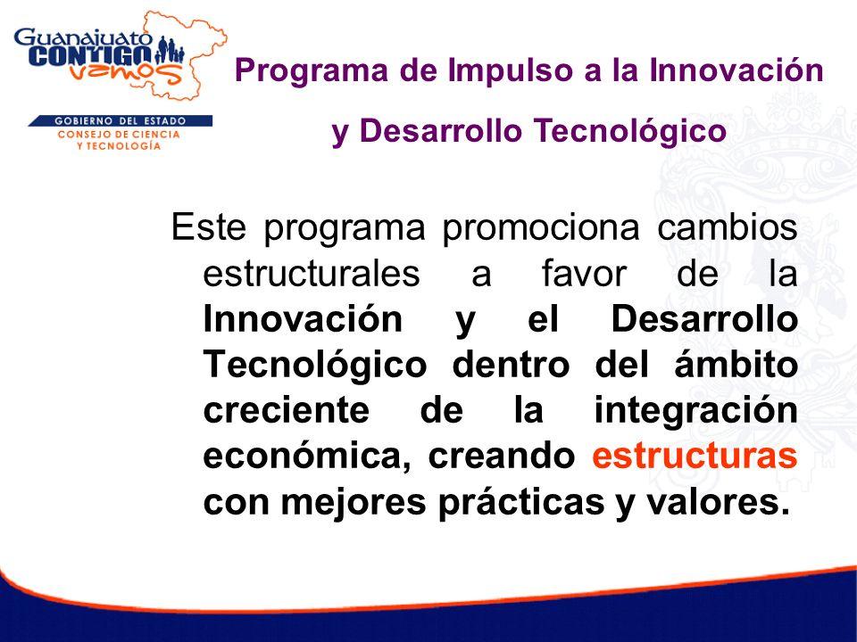 Este programa promociona cambios estructurales a favor de la Innovación y el Desarrollo Tecnológico dentro del ámbito creciente de la integración econ