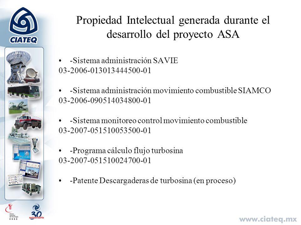 Propiedad Intelectual generada durante el desarrollo del proyecto ASA -Sistema administración SAVIE 03-2006-013013444500-01 -Sistema administración mo