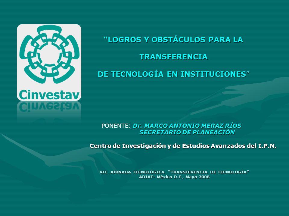 LOGROS Y OBSTÁCULOS PARA LA TRANSFERENCIA DE TECNOLOGÍA EN INSTITUCIONES VII JORNADA TECNOLÓGICA TRANSFERENCIA DE TECNOLOGÍA ADIAT- México D.F., Mayo