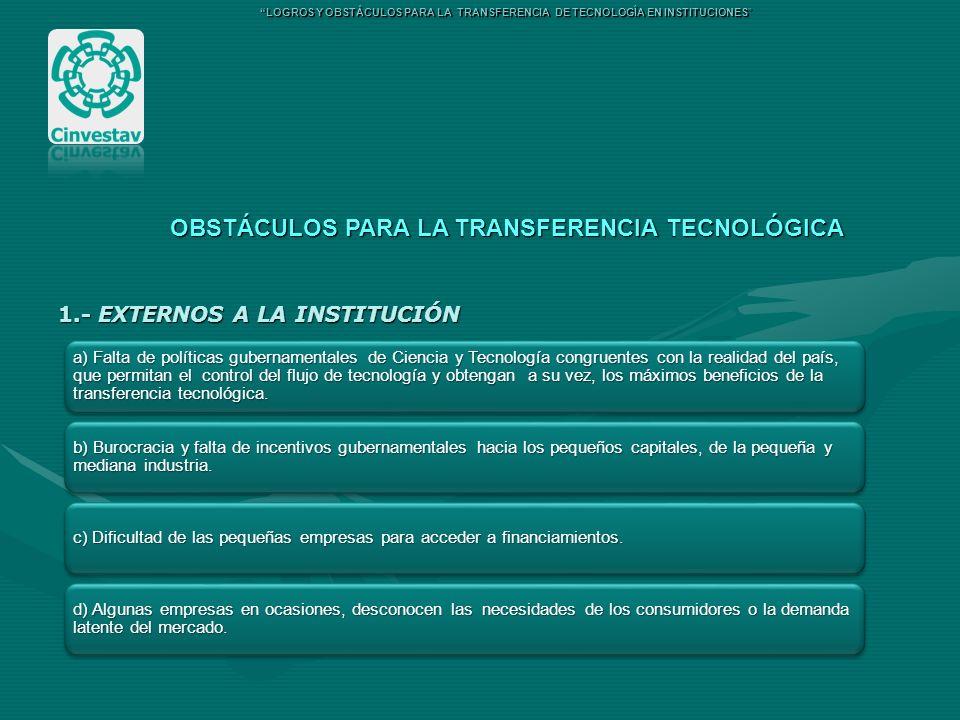 1.- EXTERNOS A LA INSTITUCIÓN OBSTÁCULOS PARA LA TRANSFERENCIA TECNOLÓGICA LOGROS Y OBSTÁCULOS PARA LA TRANSFERENCIA DE TECNOLOGÍA EN INSTITUCIONES a)