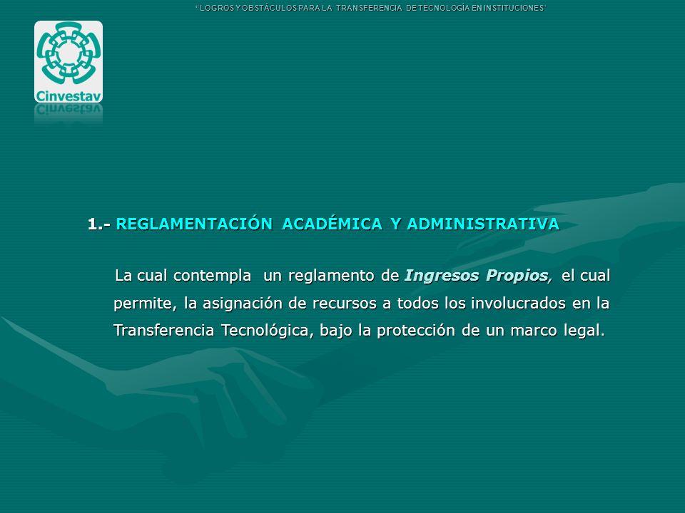 1.- REGLAMENTACIÓN ACADÉMICA Y ADMINISTRATIVA La cual contempla un reglamento de Ingresos Propios, el cual La cual contempla un reglamento de Ingresos