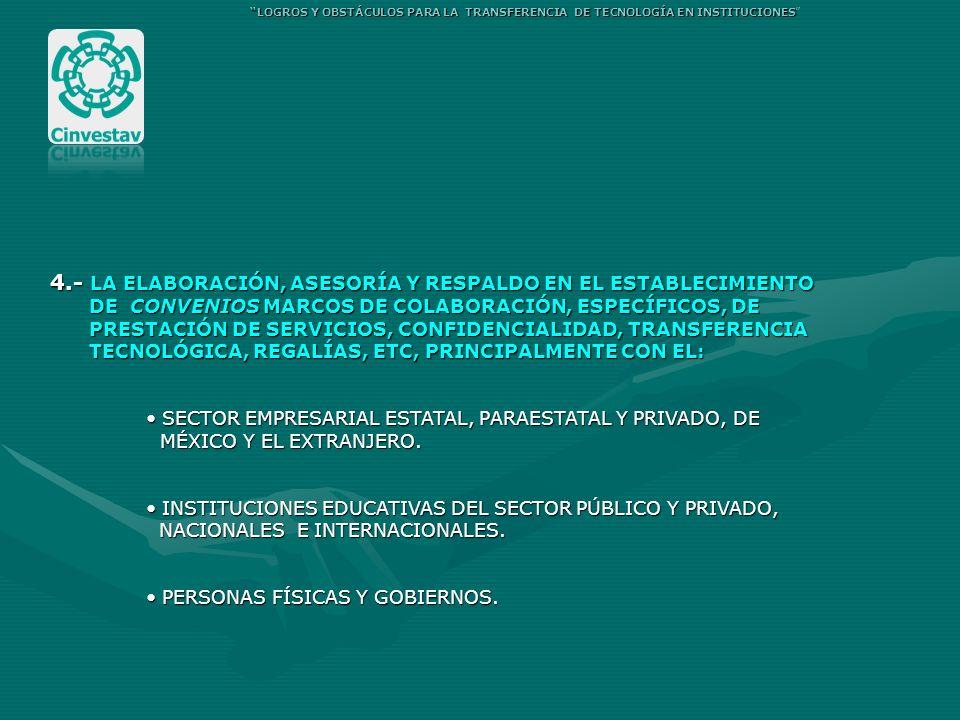 4.- LA ELABORACIÓN, ASESORÍA Y RESPALDO EN EL ESTABLECIMIENTO DE CONVENIOS MARCOS DE COLABORACIÓN, ESPECÍFICOS, DE DE CONVENIOS MARCOS DE COLABORACIÓN