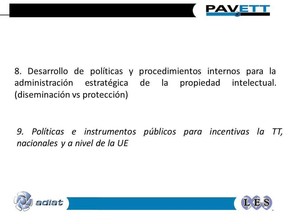 8. Desarrollo de políticas y procedimientos internos para la administración estratégica de la propiedad intelectual. (diseminación vs protección) 9. P