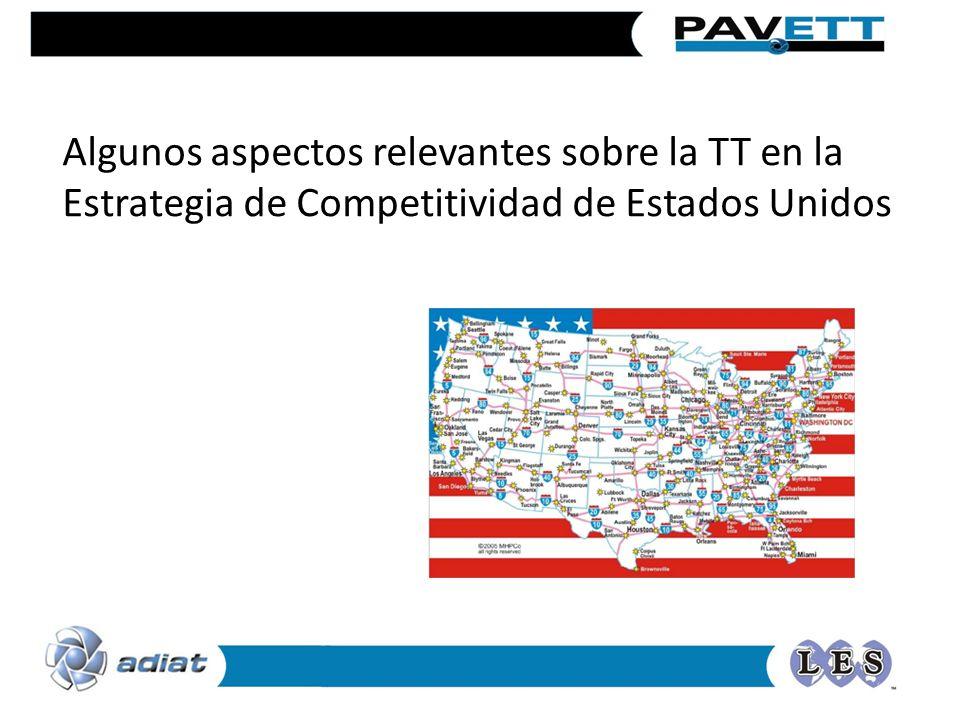 Algunos aspectos relevantes sobre la TT en la Estrategia de Competitividad de Estados Unidos