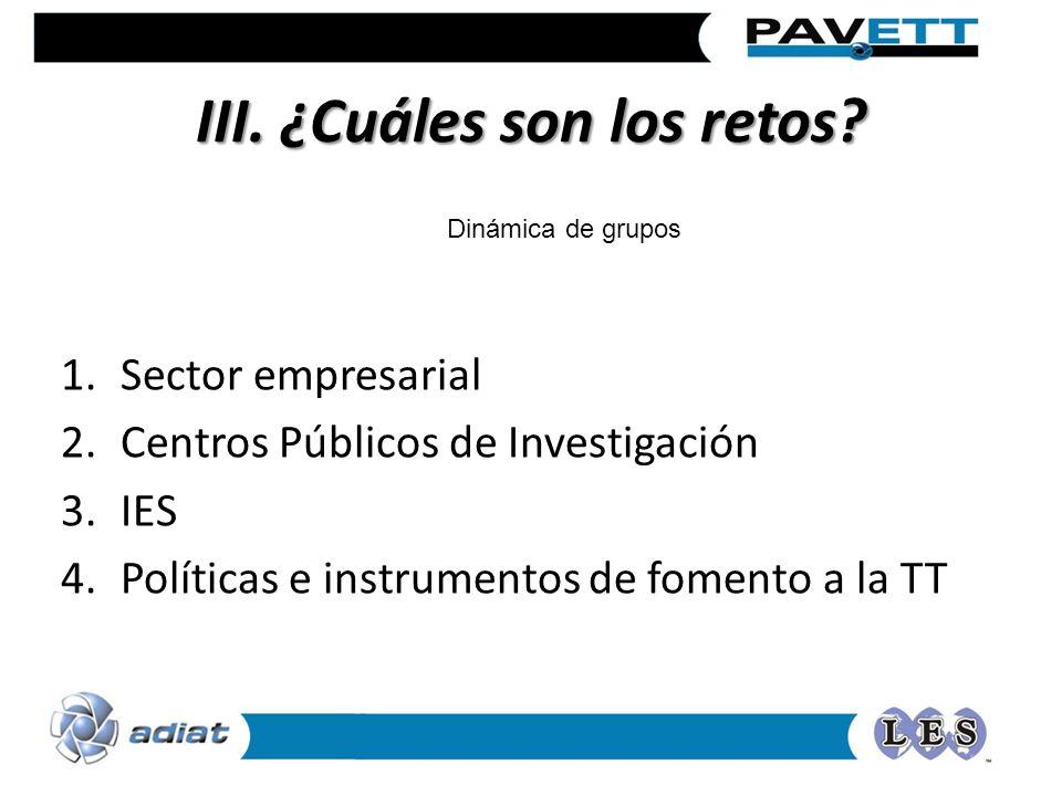 III. ¿Cuáles son los retos? 1.Sector empresarial 2.Centros Públicos de Investigación 3.IES 4.Políticas e instrumentos de fomento a la TT Dinámica de g