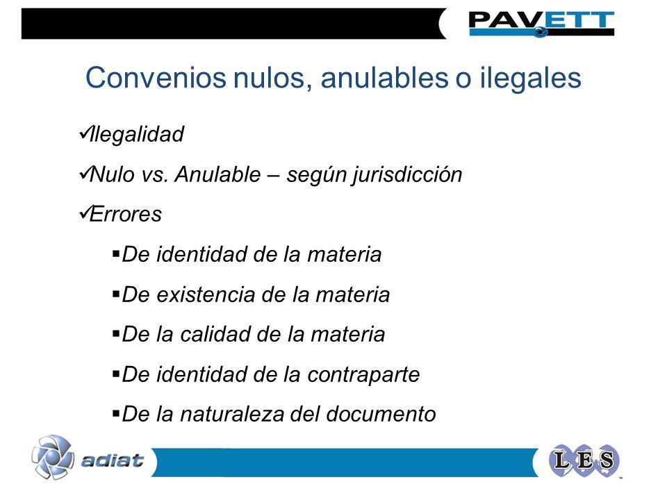 Convenios nulos, anulables o ilegales Ilegalidad Nulo vs. Anulable – según jurisdicción Errores De identidad de la materia De existencia de la materia