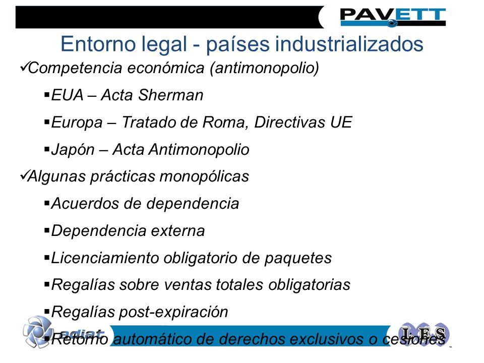 Entorno legal - países industrializados Competencia económica (antimonopolio) EUA – Acta Sherman Europa – Tratado de Roma, Directivas UE Japón – Acta