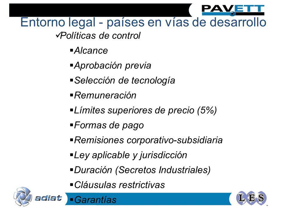 Políticas de control Alcance Aprobación previa Selección de tecnología Remuneración Límites superiores de precio (5%) Formas de pago Remisiones corpor
