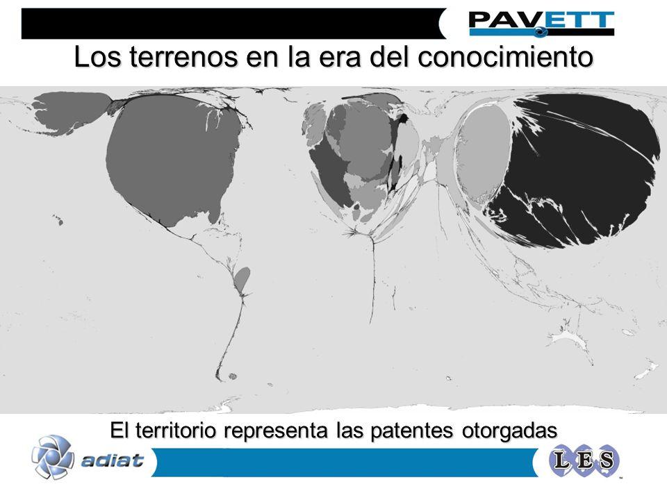 Los terrenos en la era del conocimiento El territorio representa las patentes otorgadas