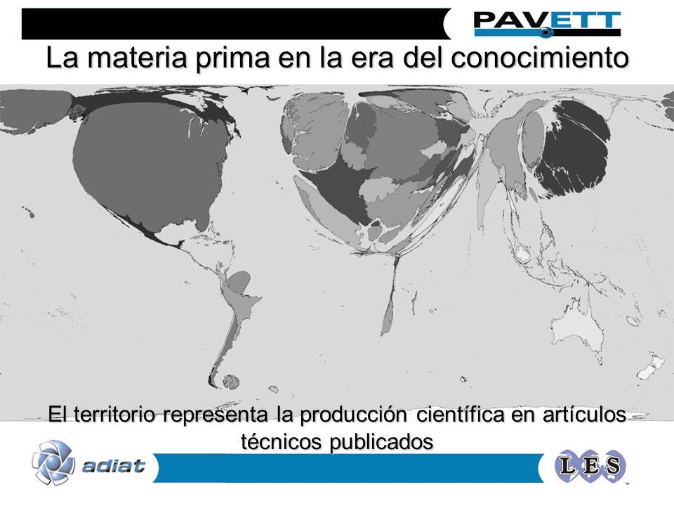 La materia prima en la era del conocimiento El territorio representa la producción científica en artículos técnicos publicados
