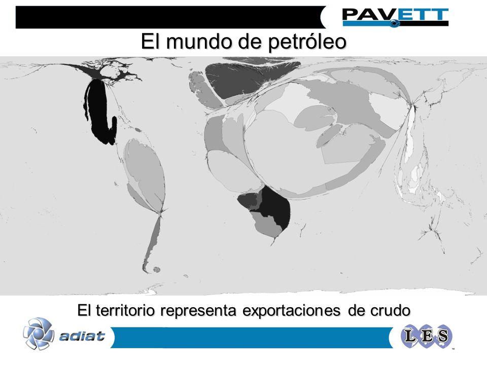 El mundo de petróleo El territorio representa exportaciones de crudo