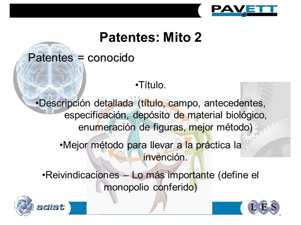 Patentes = conocido Título. Descripción detallada (título, campo, antecedentes, especificación, depósito de material biológico, enumeración de figuras