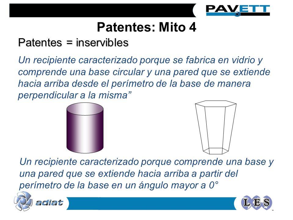 Patentes = inservibles Un recipiente caracterizado porque se fabrica en vidrio y comprende una base circular y una pared que se extiende hacia arriba