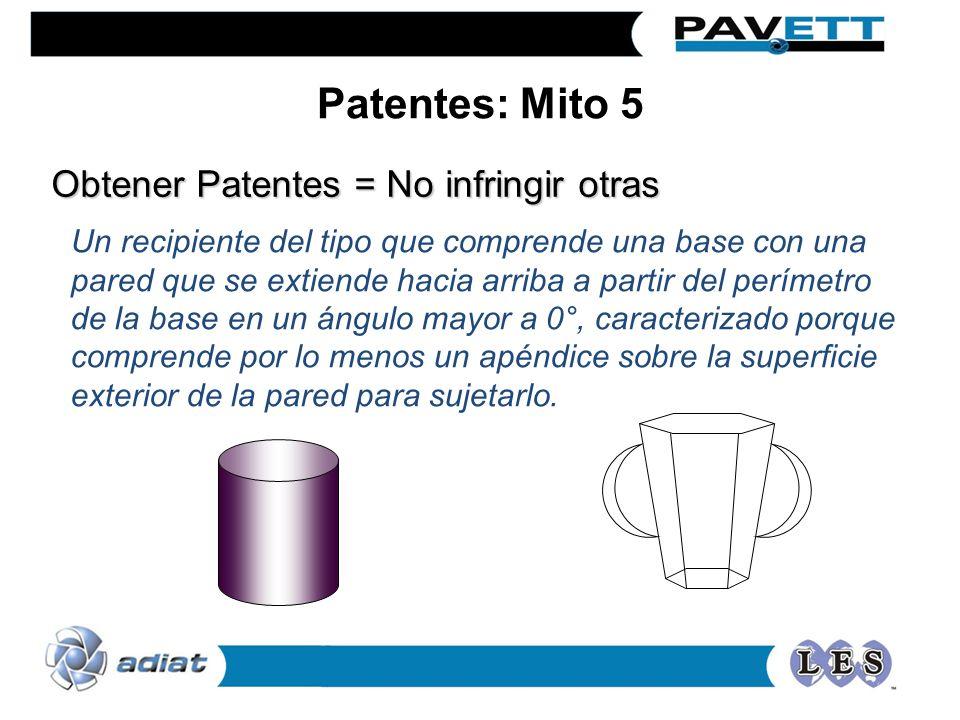 Obtener Patentes = No infringir otras Un recipiente del tipo que comprende una base con una pared que se extiende hacia arriba a partir del perímetro