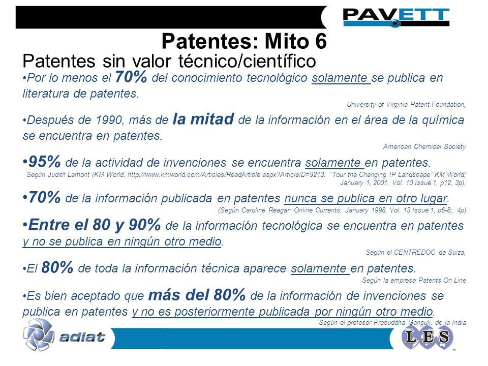 Por lo menos el 70% del conocimiento tecnológico solamente se publica en literatura de patentes. University of Virginia Patent Foundation, Después de