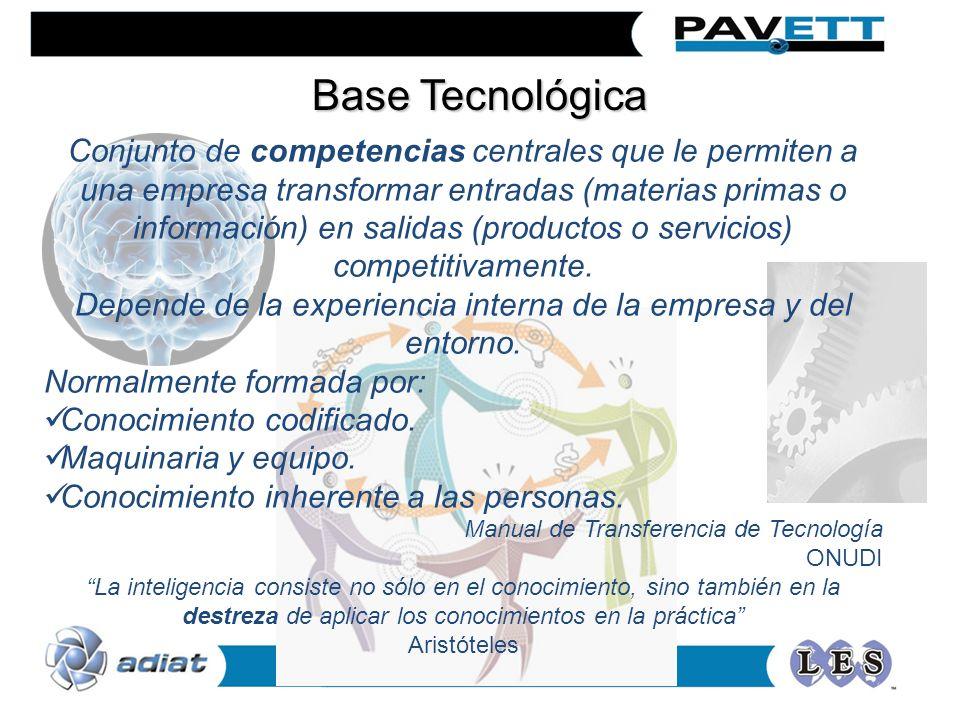 Conjunto de competencias centrales que le permiten a una empresa transformar entradas (materias primas o información) en salidas (productos o servicios) competitivamente.