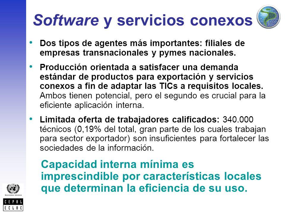 Software y servicios conexos Dos tipos de agentes más importantes: filiales de empresas transnacionales y pymes nacionales.