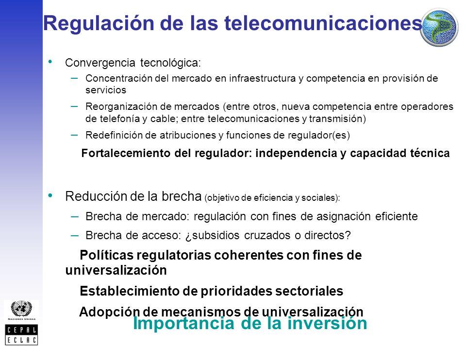 Reducción de la brecha (objetivo de eficiencia y sociales): – Brecha de mercado: regulación con fines de asignación eficiente – Brecha de acceso: ¿subsidios cruzados o directos.