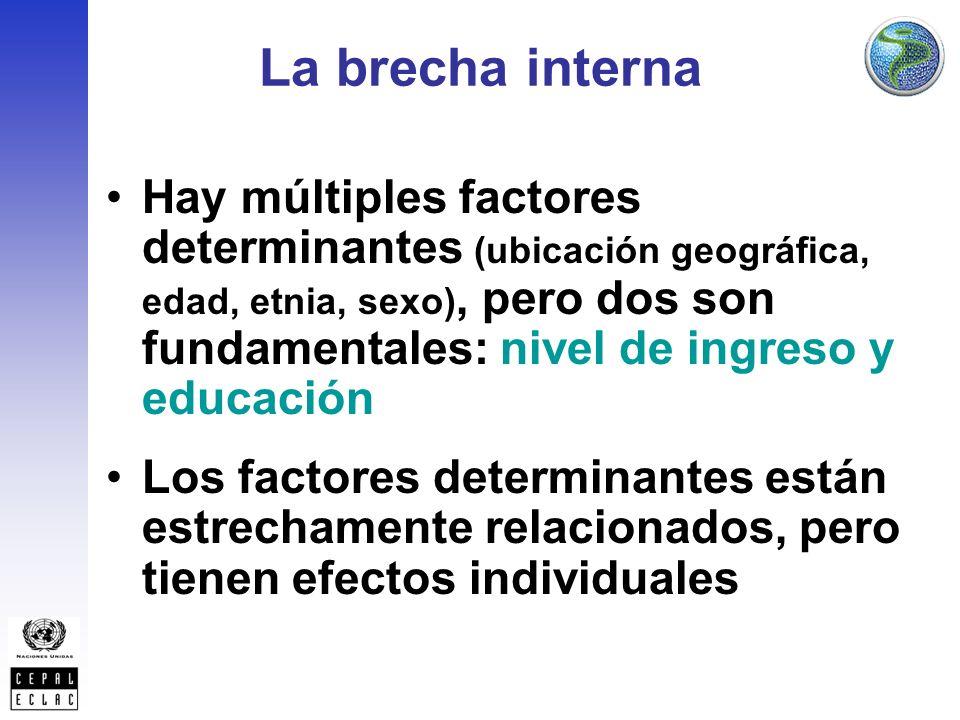 La brecha interna Hay múltiples factores determinantes (ubicación geográfica, edad, etnia, sexo), pero dos son fundamentales: nivel de ingreso y educación Los factores determinantes están estrechamente relacionados, pero tienen efectos individuales