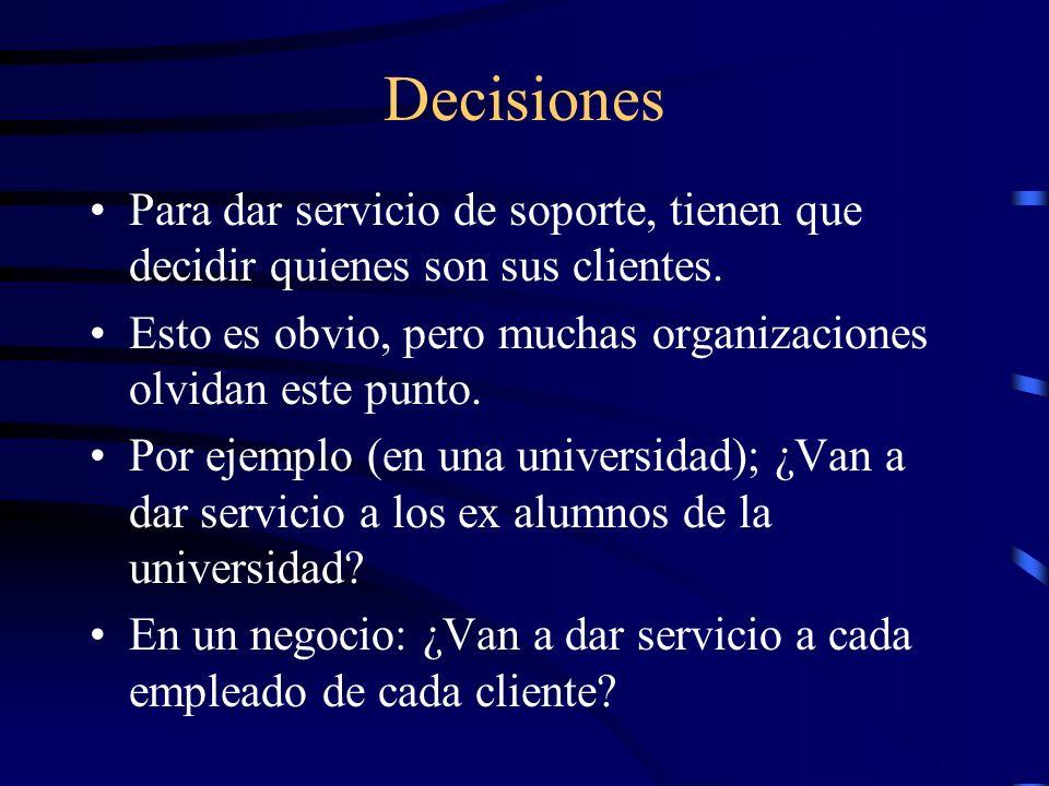 Decisiones Para dar servicio de soporte, tienen que decidir quienes son sus clientes.