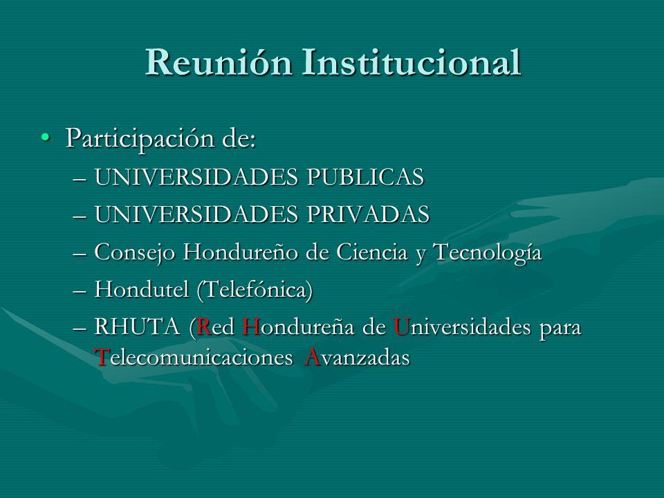 Reunión Institucional Participación de:Participación de: –UNIVERSIDADES PUBLICAS –UNIVERSIDADES PRIVADAS –Consejo Hondureño de Ciencia y Tecnología –Hondutel (Telefónica) –RHUTA (Red Hondureña de Universidades para Telecomunicaciones Avanzadas