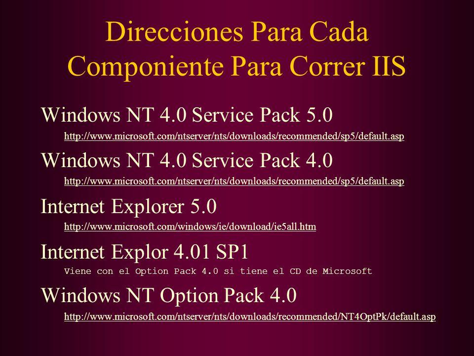 Direcciones Para Cada Componiente Para Correr IIS Windows NT 4.0 Service Pack 5.0 http://www.microsoft.com/ntserver/nts/downloads/recommended/sp5/defa