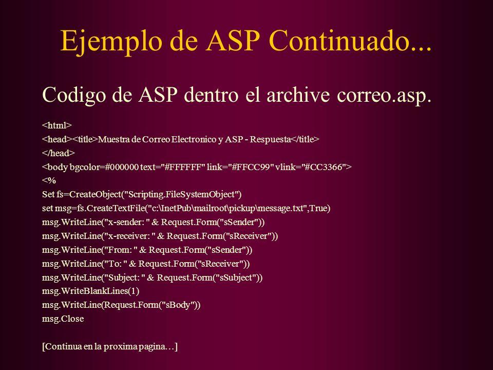 Ejemplo de ASP Continuado... Codigo de ASP dentro el archive correo.asp. Muestra de Correo Electronico y ASP - Respuesta <% Set fs=CreateObject(