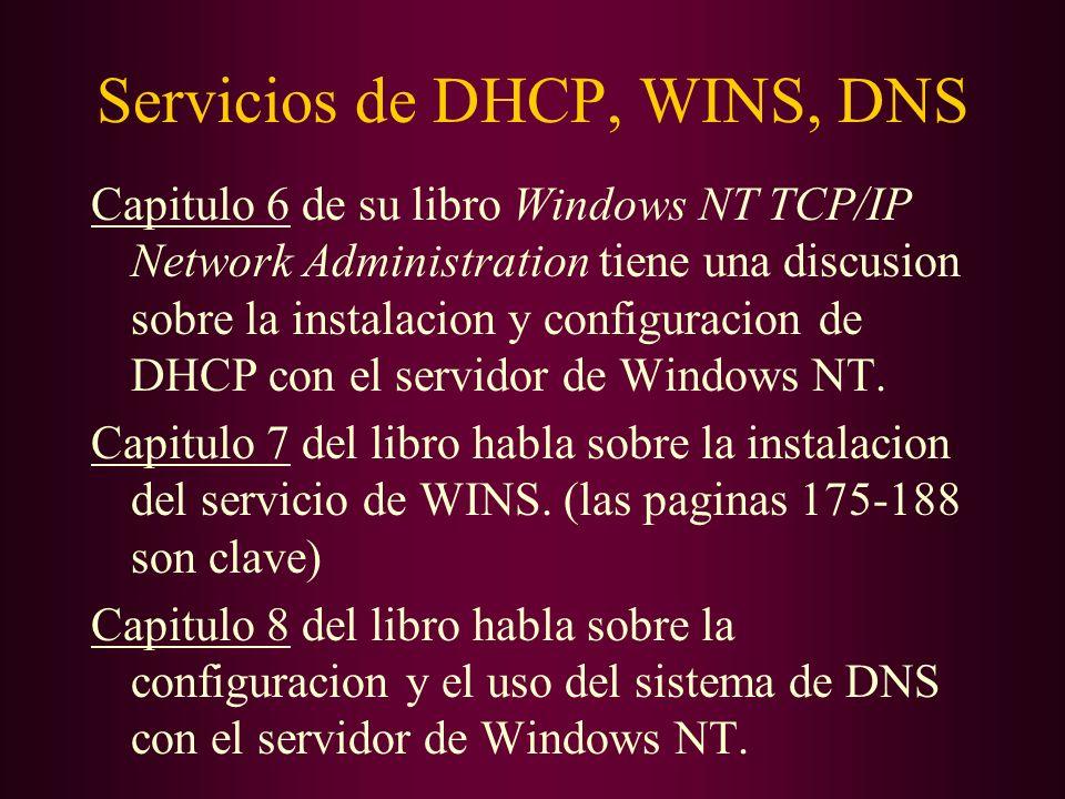 Servicios de DHCP, WINS, DNS Capitulo 6 de su libro Windows NT TCP/IP Network Administration tiene una discusion sobre la instalacion y configuracion