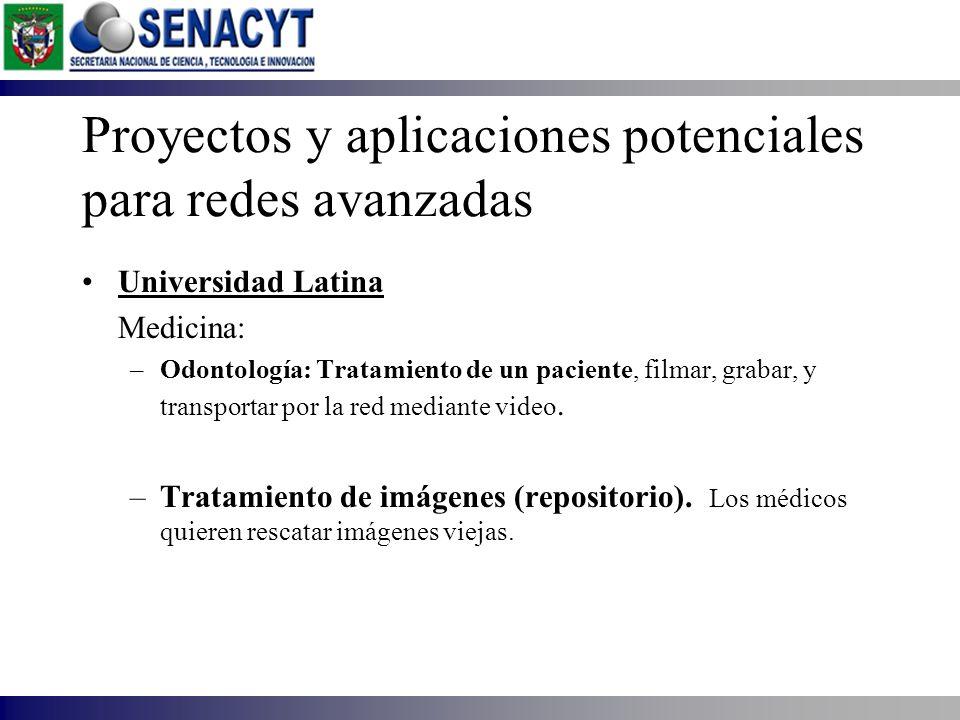 Proyectos y aplicaciones potenciales para redes avanzadas Universidad Latina Medicina: –Odontología: Tratamiento de un paciente, filmar, grabar, y tra