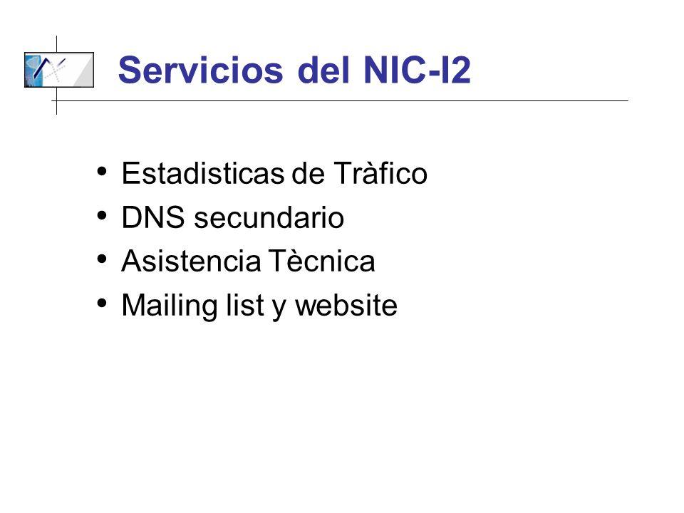 Servicios del NIC-I2 Estadisticas de Tràfico DNS secundario Asistencia Tècnica Mailing list y website