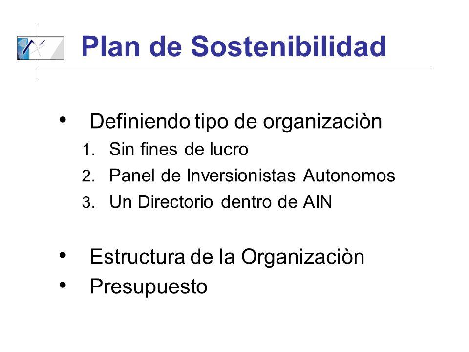 Plan de Sostenibilidad Definiendo tipo de organizaciòn 1. Sin fines de lucro 2. Panel de Inversionistas Autonomos 3. Un Directorio dentro de AIN Estru
